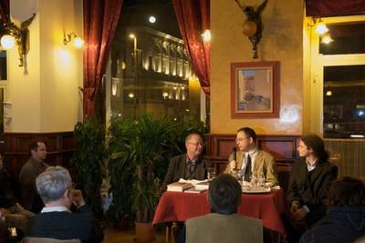 Spiró György és Csepregi András az Asztali beszélgetéseken - small