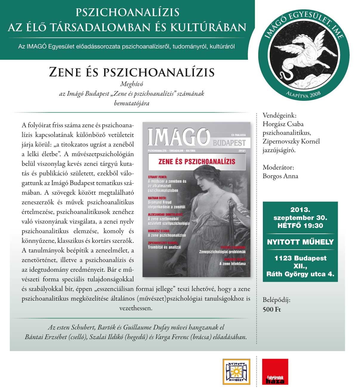 """Az Imágó Budapest folyóirat """"Zene és pszichoanalízis"""" számának bemutatója"""