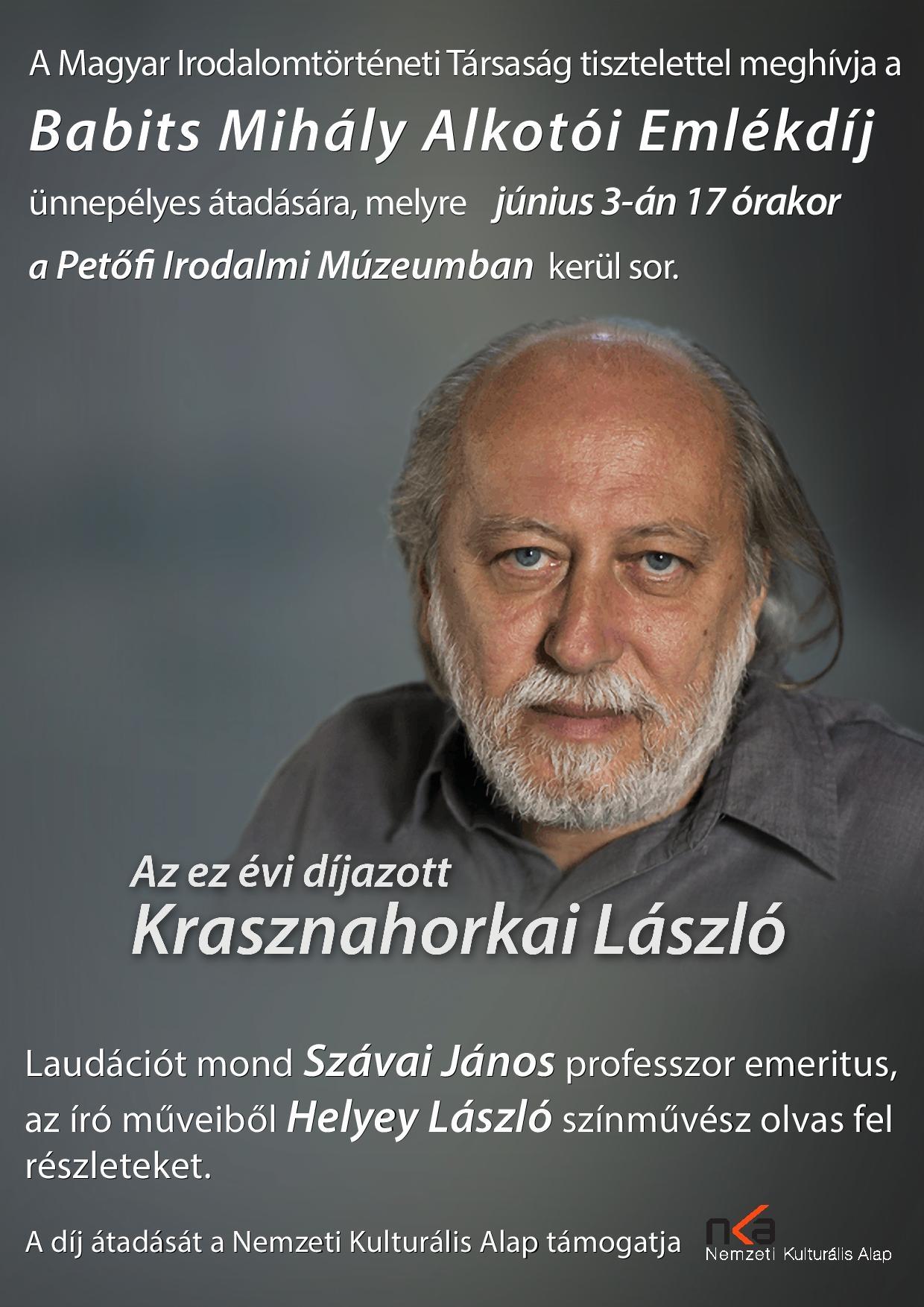 Babits Mihály Alkotói Emlékdíj átadása Krasznahorkai Lászlónak