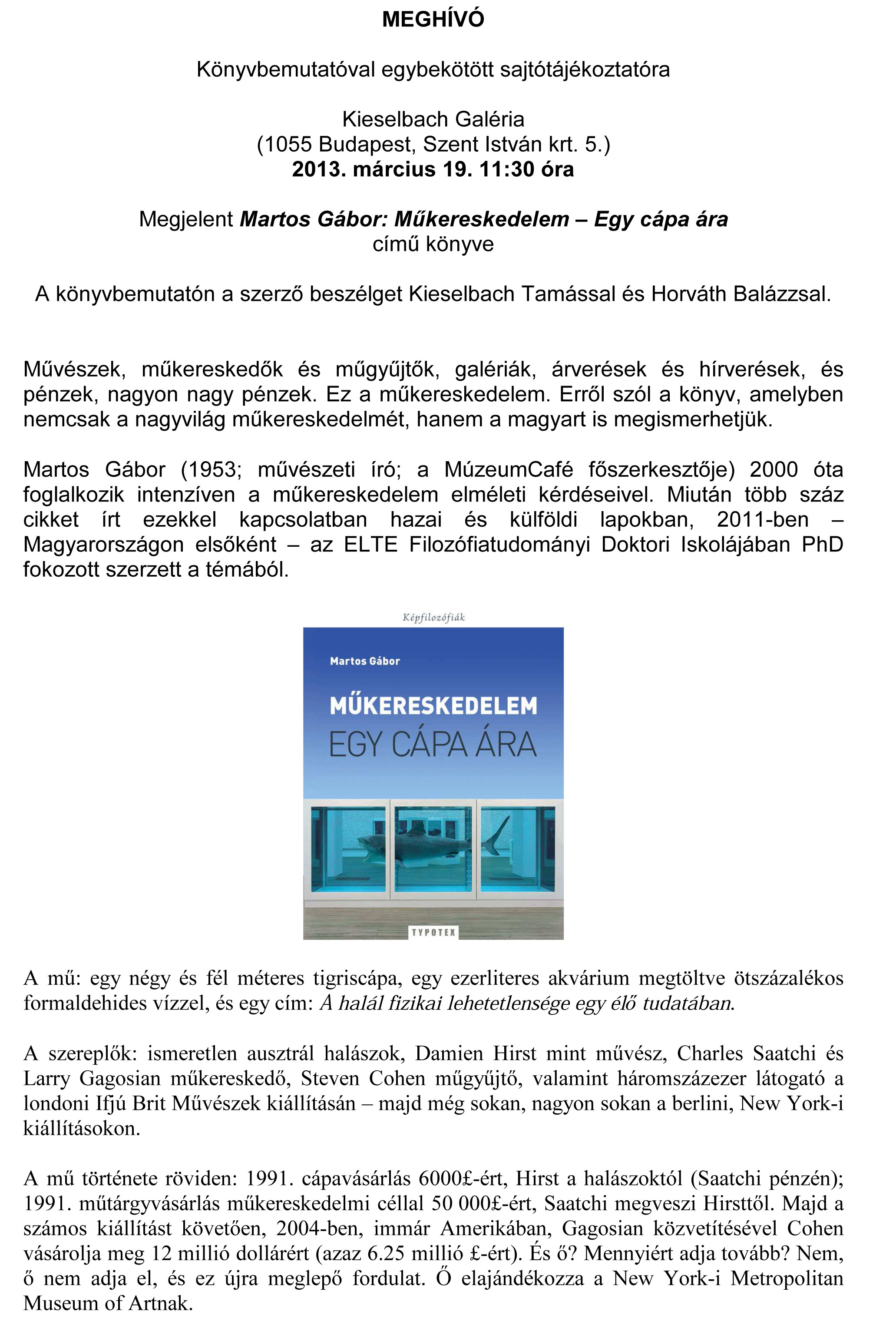 Könyvbemutató: Műkereskedelem – Egy cápa ára